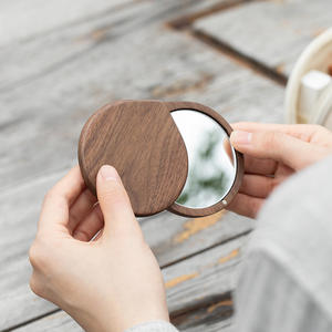 Promotional Gift Outdoor Portable Small Wood Mirror Foldable Travel Vanity Mirror