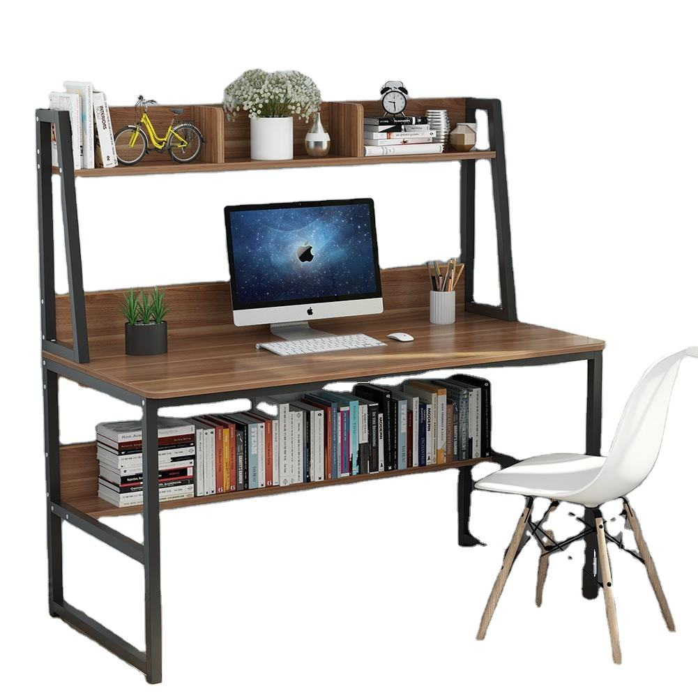 High Quality Computer Desktops T-type Bedroom Write Computer Table Home Kids Study Table with Bookshelf Drawer