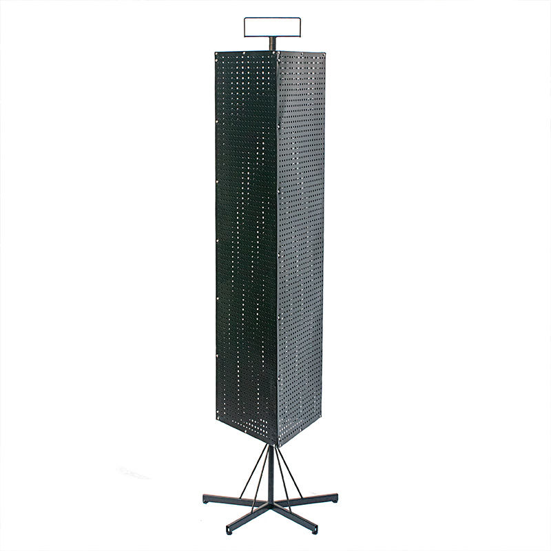 Black pegboard rotating spinner display rack stand