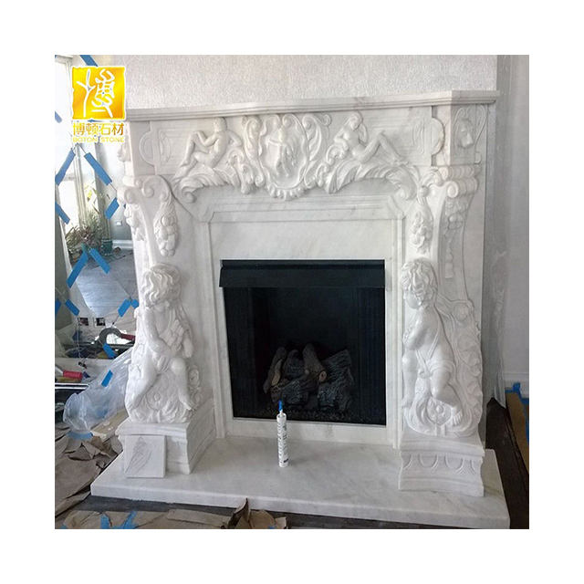 European Royal Electric Fireplace with Floral Design, Decorative Flame Electric Fireplace Mantel Surround