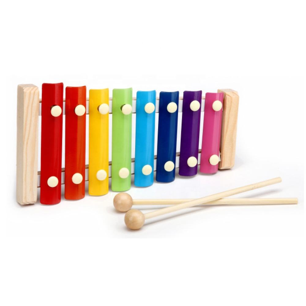 Natural 8 Notes Toddler Wooden Xylophone Toy Glockenspiel for Kids