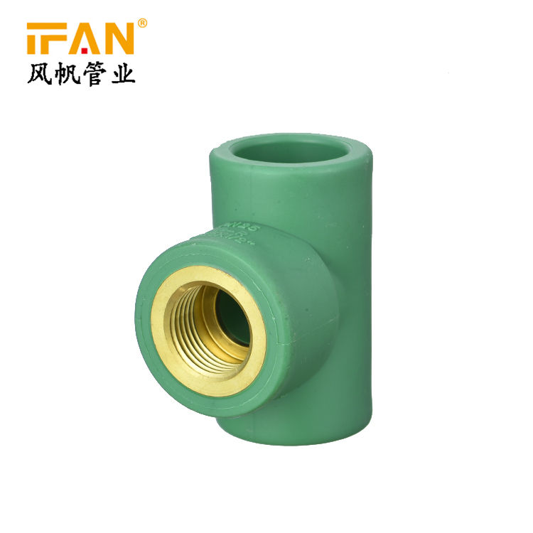 "IFANPlus PPR Pipes Fitting 20mm 25mm PPR Fitting Brass insert Female Tee 1/2"" 3/4inch Female Tee"