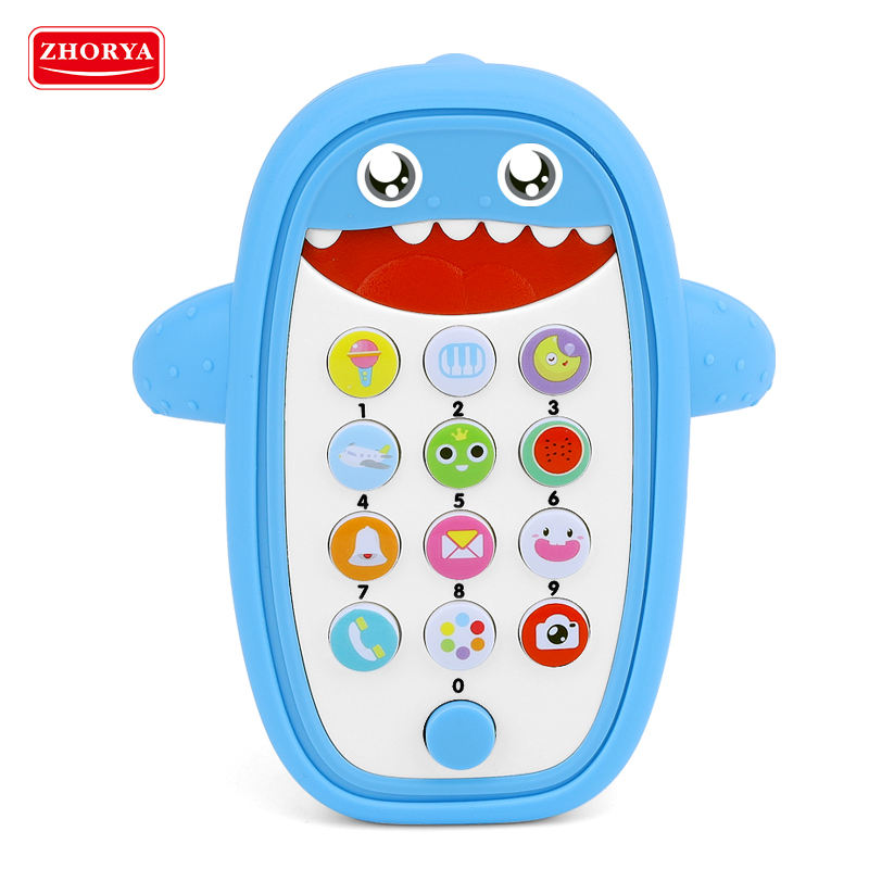 Hot sale touch screen blue plastic baby learning toy smart music mobile cell phone toy baby early educational toys for kids