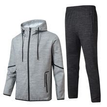 hot selling gym polyester sportswear set for man cropped hoodie bodybuilding set
