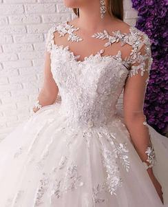 100% Real Photos Illusion O-Neck Lace Long Sleeve Applique Sequined Princess Ball Gown Wedding Quinceanera Dresses
