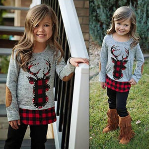 China Cheap price Fall Winter Baby Clothes Girl Reindeer Plaid Outfit Girls Boutique Sets Christmas Clothing Kids Ruffle Outfit