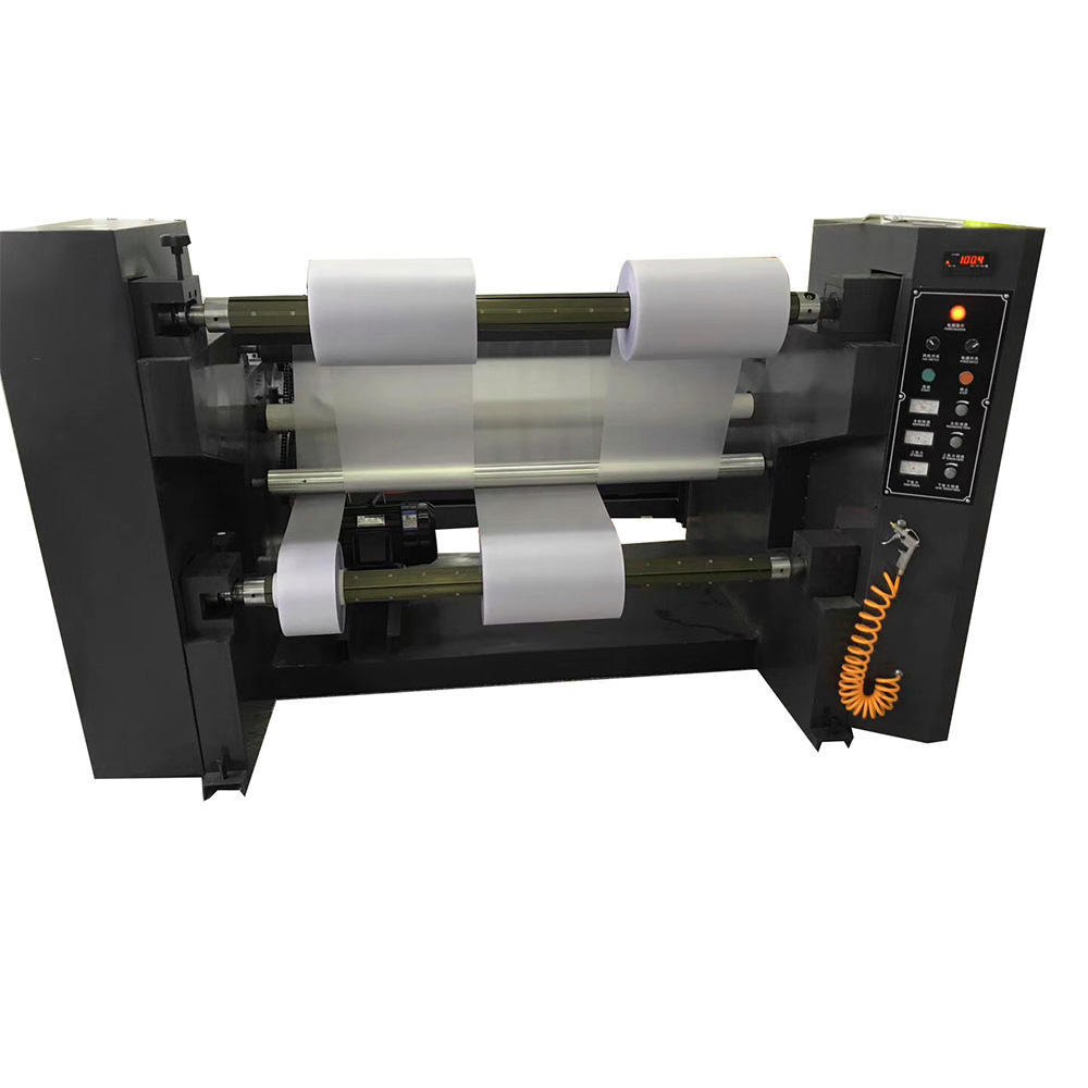 Automatic plastic film roll to roll slitting rewinding machine