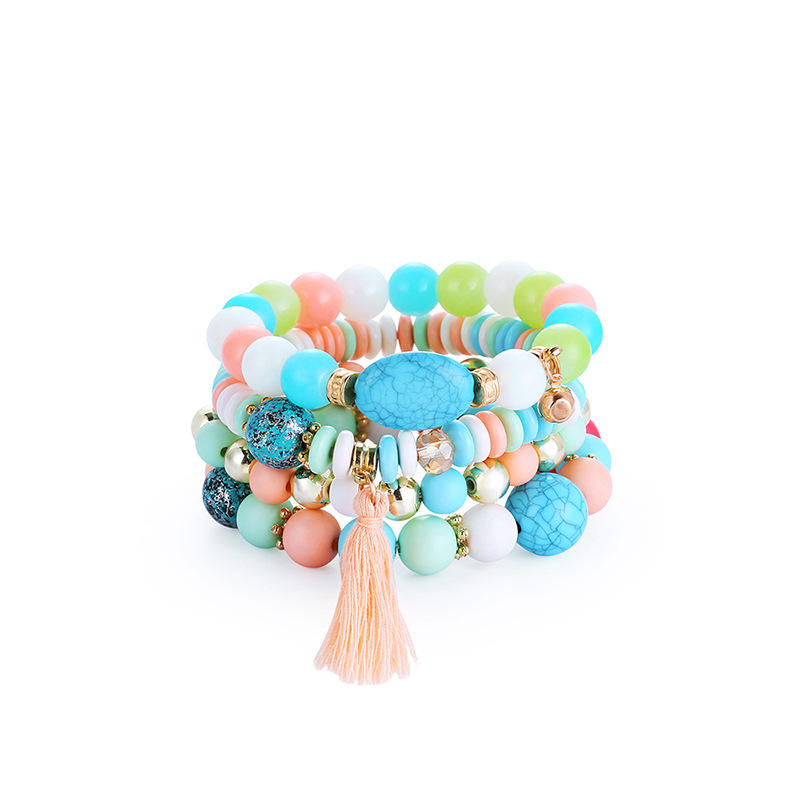 Bohemian Summer Beach Colorful Multilayer Beads Hand Jewelry Ethnic Tassel Indian Turquoise Stone Stackable Bead Bracelet