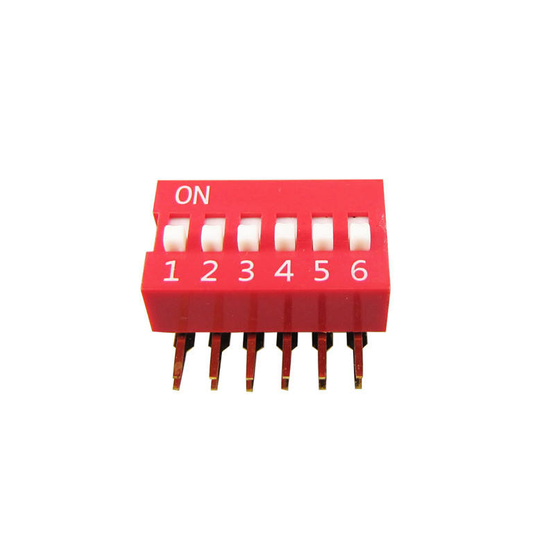 New design Right angle 형 switch 6 핀 Red DIP Switch