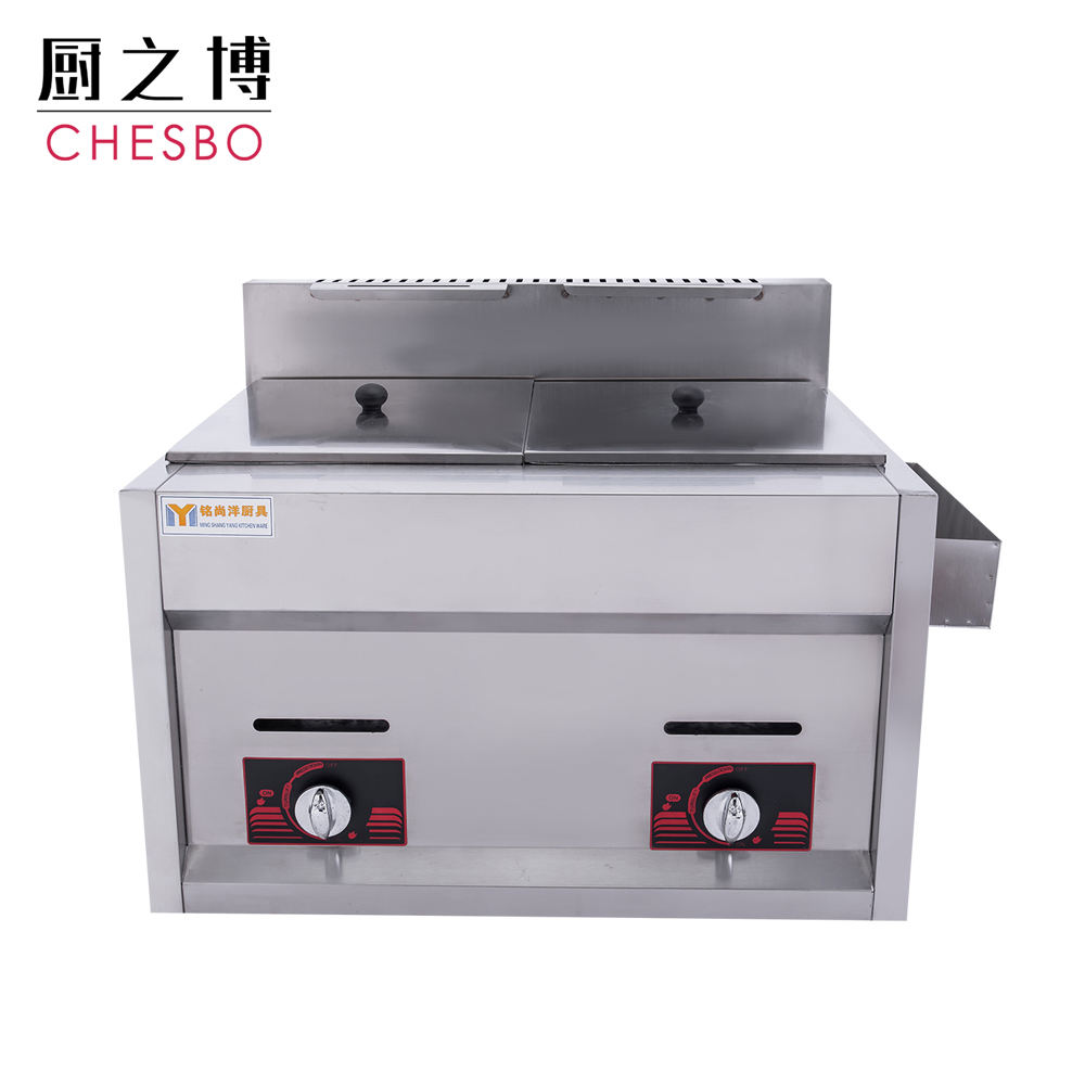 Cheap Commercial Gas Oil Double Cylinder Deep Fryer 10L+10L
