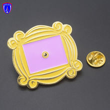 Wholesale TV show Friends Monica's door lapel pin soft enamel custom gold pin badges with safety butterfly clutch