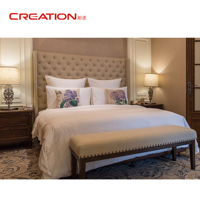 Logo Customization [ Hotel Furniture ] Hotel Bedroom High Quality Foshan Wooden Luxury Hotel Bed Room Furniture Bedroom Set Furniture