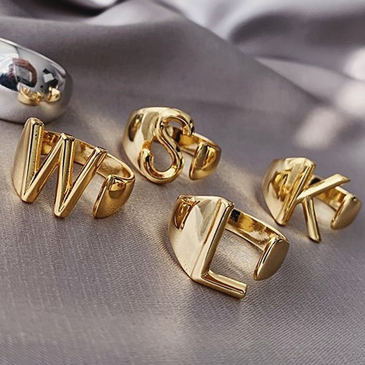 Alphabet A- Z letter ring 18k gold chunky name irregular gold ring adjustable initial ring