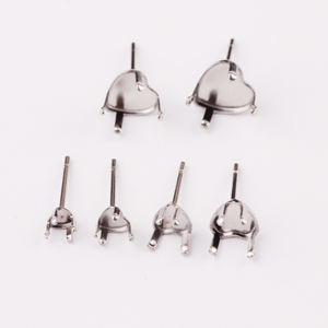 Stainless Steel Back Stopper Stud heart shape Earring Blank Base Earrings back Posts DIY Jewelry Making