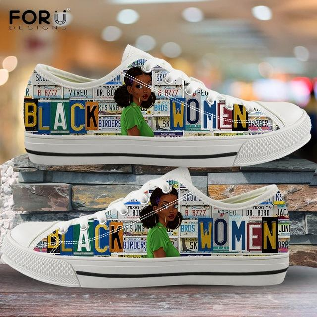OEM Service Custom Traditional Art African Woman Print Walking Outdoor Flats Sneakers Casual Shoes Women Shoes