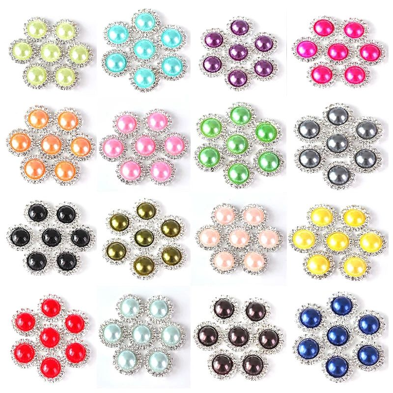 Half Round Pearls Rhinestone Pink Lace Claw Stones Silver Buttons Flatback Crystal White Diamond Button For Wedding Dress