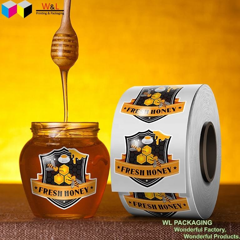 Custom-made Food Stickers, Canned Dried Fruit Food Stickers, Printed Label Roll Coated Paper Tab Honey Jar Labels