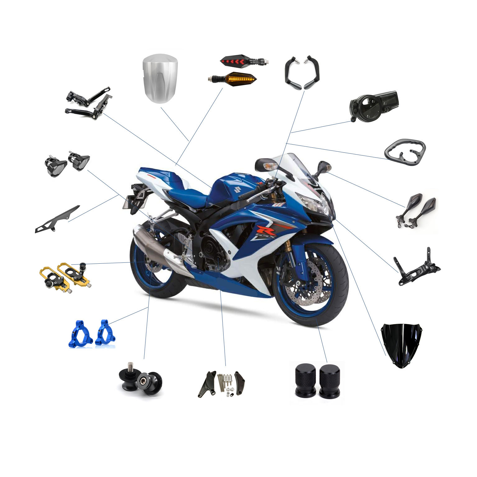 Realzion Motorcycle Accessories Modification Chinese Wholesale Motorbike Moto Dirtbike Body Systems Parts Spare Parts For Suzuki