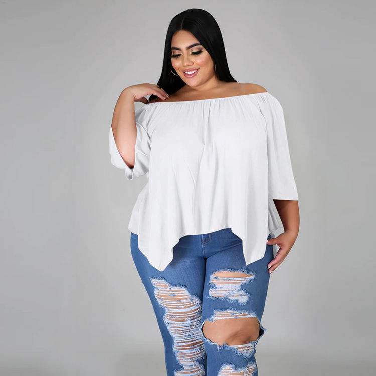 Plus Size Irregular Hem Off Shoulder Plain T Shirt Women's Clothing Tee Tops Autumn 2020 Ladies Tops Casual Women Women Tops