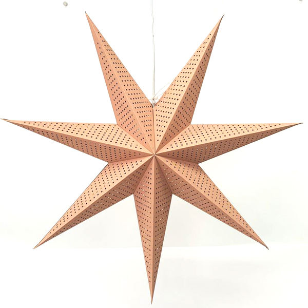 Festival Decorations Big pink folded Paper Star Lantern Hanging Led Light