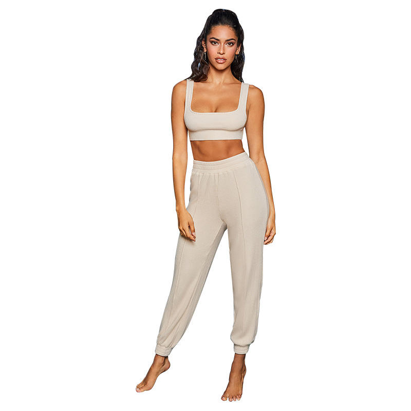 Ribbed Crop Top Camisole Trousers 2 Piece Set 2019 Solid Color Two Piece Outfits fashion Comfortable Outfit