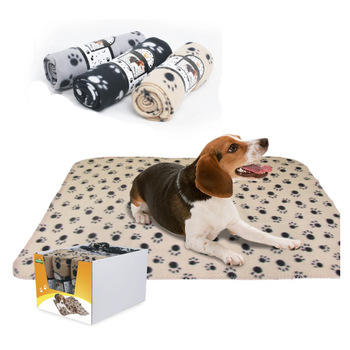 Pet Dog Blanket,Warm Dog Bed Cover Paw Print Fleece Throw Blanket for Small,Medium Dog 100*70CM