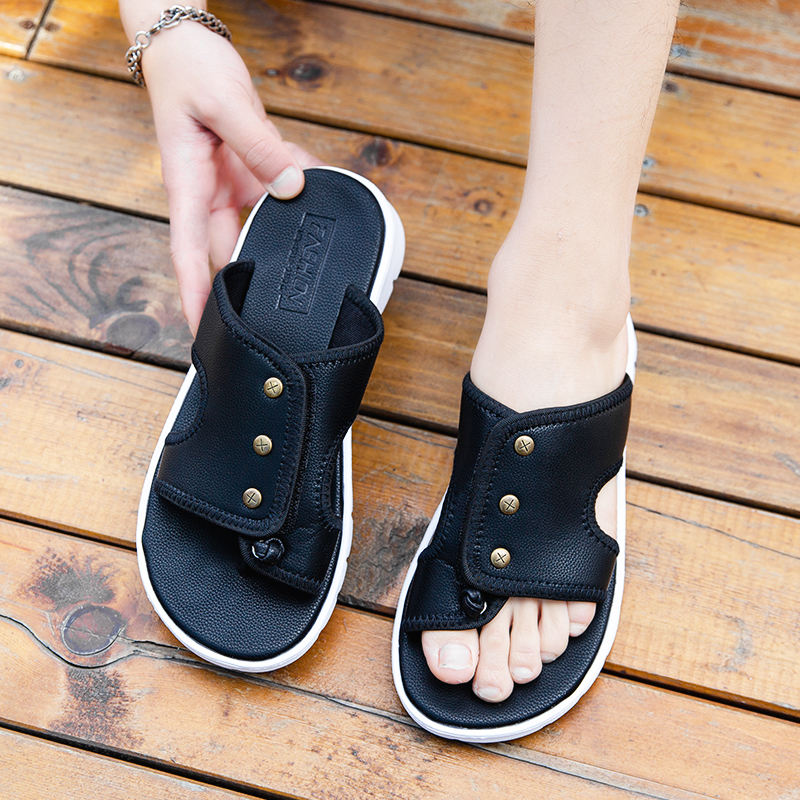 Fashion Outdoor Adjustable Strap Pu Vietnam Sandal for men's , 2020 dropshipping Rubber Leather Men's Summer Sandals with nail