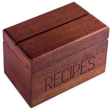 Wood Recipe Box with Cards Vintage Wood 4x6 Recipe Holder Card Box 240 Cards with Divider Tabs Gift for Wedding