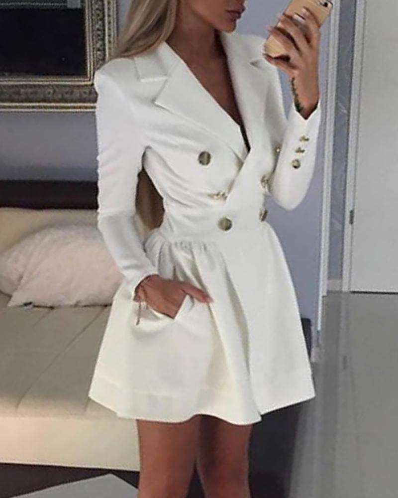 Double-Breasted Ol Style Lapel Collar Solid Fitted Blazer Dress