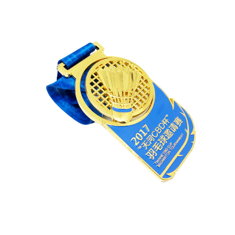 Die casted hollow-out golden badminton sports medals with ribbon