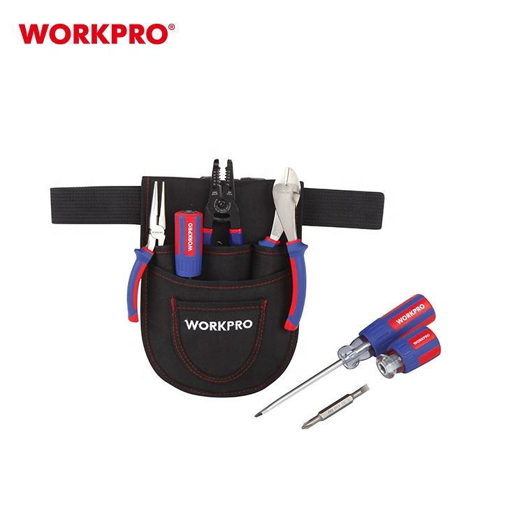 WORKPRO W004160 3pc Professional Wire Cutting Long Nose Pliers Electrician's Tool Set With Terminal Crimper