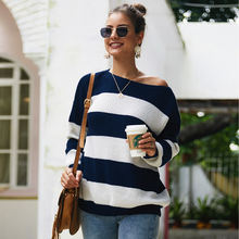 Wholesale Women's Long Sleeve Boat Neck Striped Drop Shoulder Pullover Knit Sweater oversized  Custom Knitwear