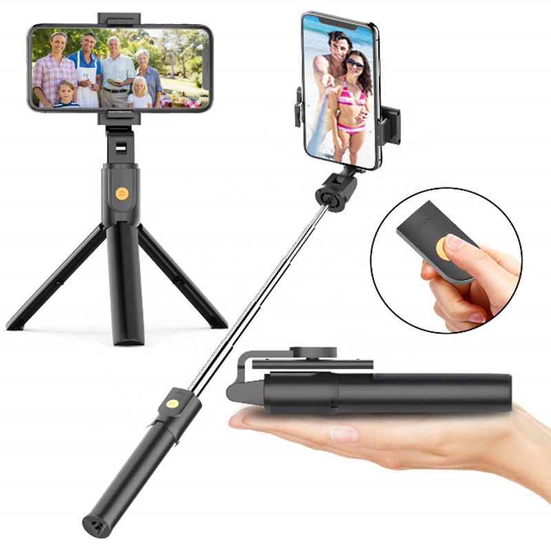 2020 Newest mini selfie stick Foldable Portable Bluetooth with make-up mirror function Phone integrated Tripod for iPhone 12