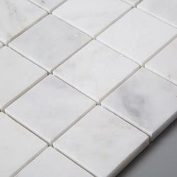 White Small Cube Square Classic Patterns Floor Tile Marble Mosaic For Bathroom