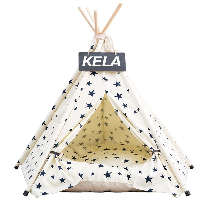 Dog Tent Pet Teepee Dog Cat Play House Portable Washable Pet Bed for Dog Cat Lace Style