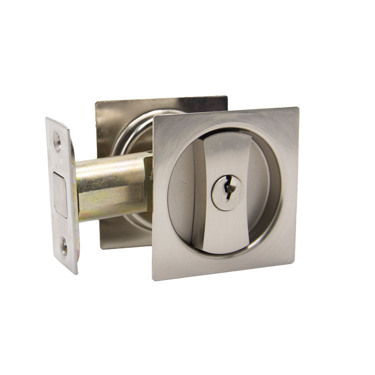 Brushed Nickel Square Knob Zinc Modern Cavity Sliding Door Bathroom Locks