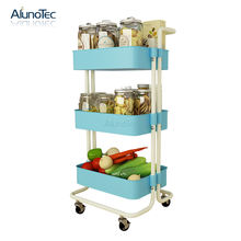 3Tier Carbon Steel Rack Home Used Rolling Storage Cart For Organization