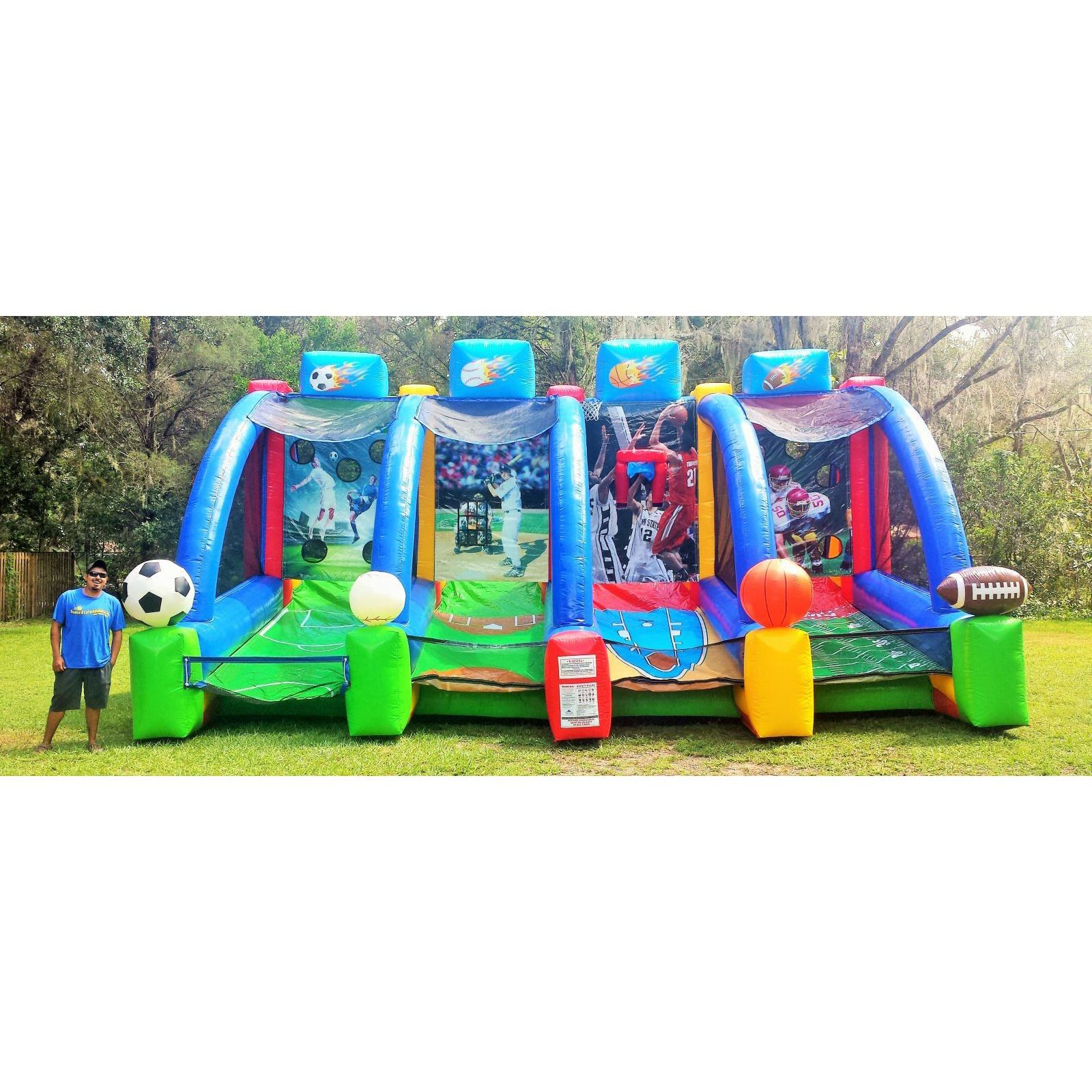 High Quality Inflatable 4 In 1 Inflatable Olahraga Permainan Inflatable Karnaval Permainan Booth