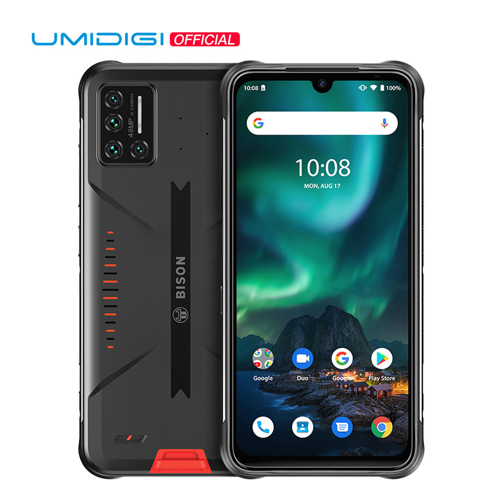 "Umidigi Bison Robuuste <span class=keywords><strong>Telefoon</strong></span> IP68/IP69K Waterdichte 48MP Matrix Quad Camera 6.3 ""Fhd + Display 6Gb + 128Gb 5150Mah Android Smartphone"
