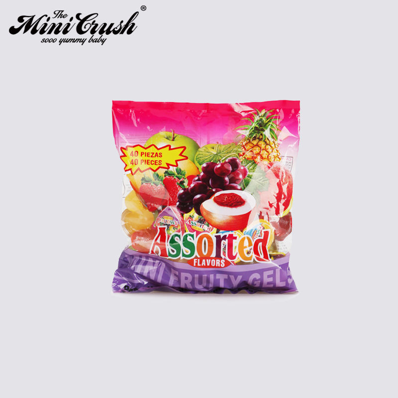 Promotion gummy candy fruit drinking mini jelly sweet assorted mini fruity gels fruit jelly candy