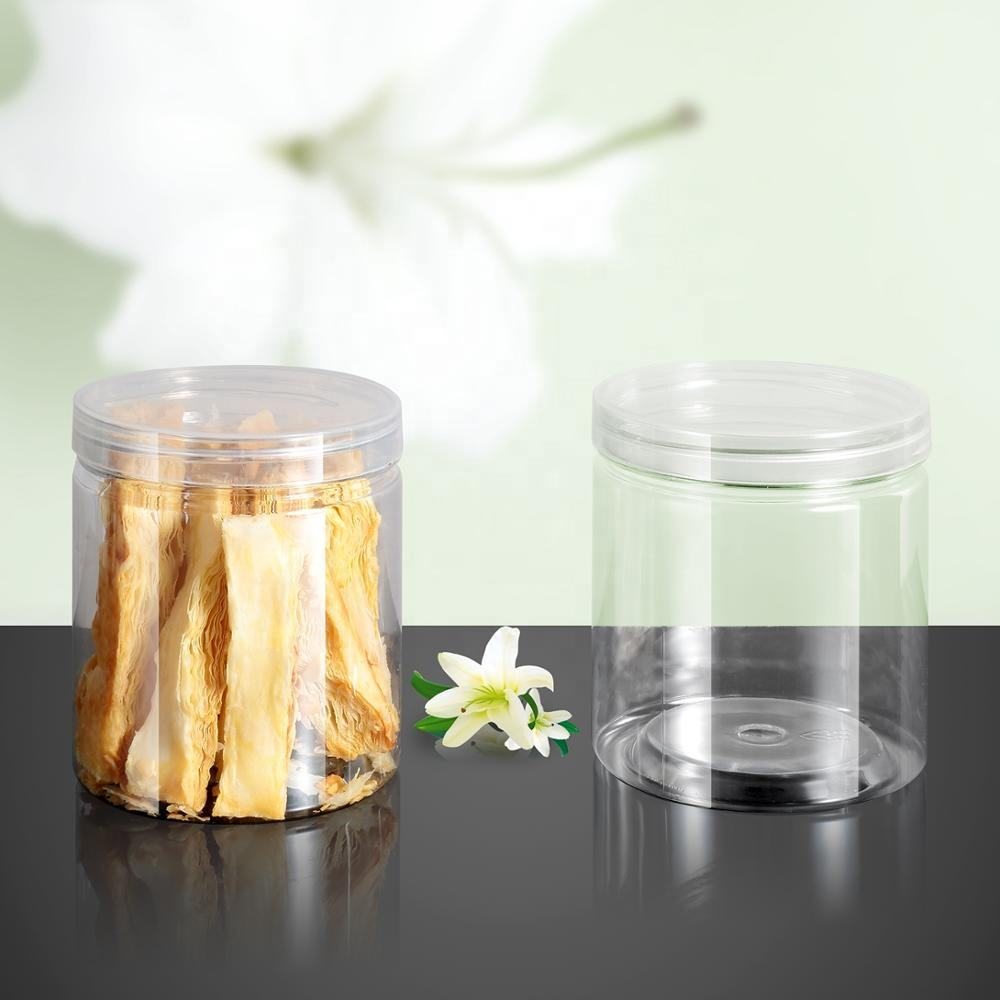 500ml Transparent Food Grade PET Plastic Jar With Screw Top Lid