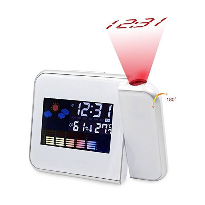 Digital Projection Alarm Clock with Weather Station alarm clock Table LCD Back Light Desk Colorful Digital Display