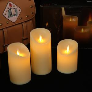 flameless plastic LED candle dancing flame Battery Operated LED Pillar Candle with smooth surface