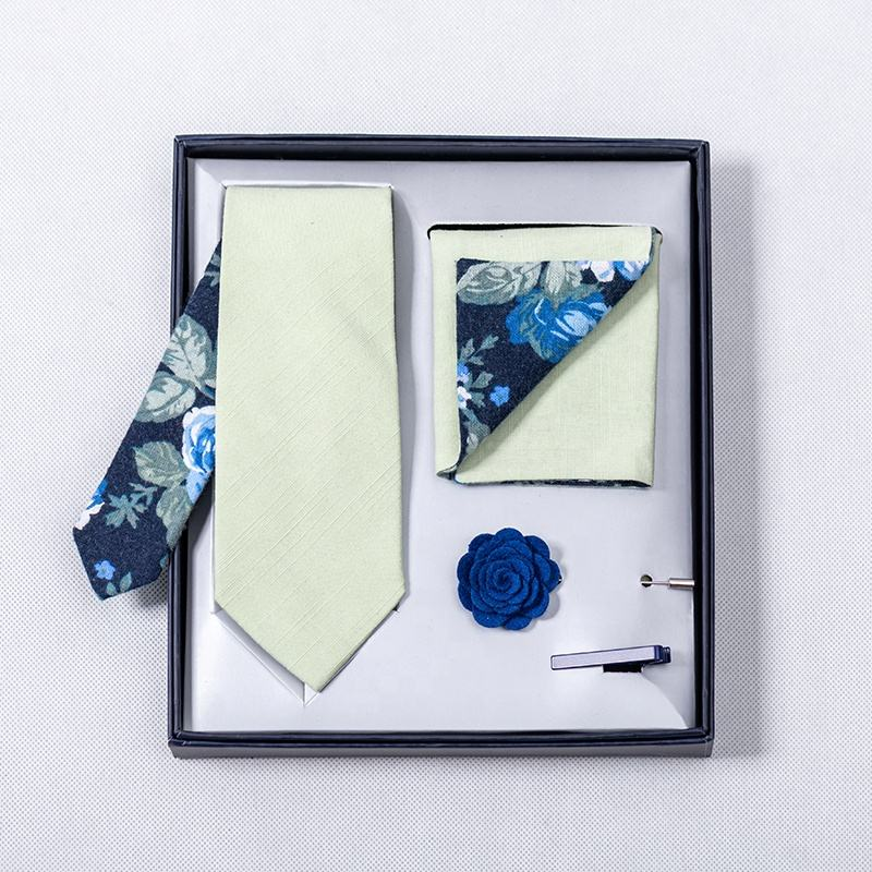 Best selling Custom Men Fluorescent Green Plain With Forest Floral Necktie Bowtie Pocket Square Sets Wedding Tie Set