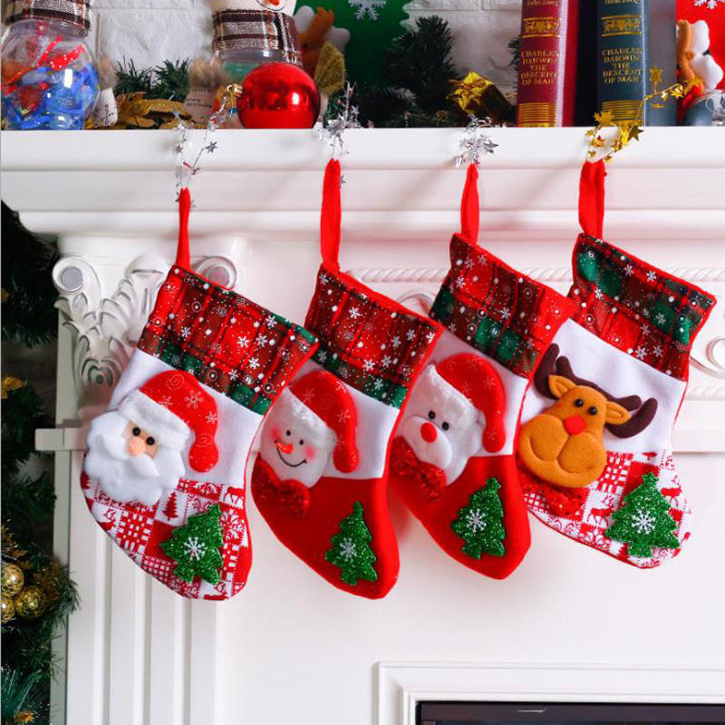 2020 New Arrivals Christmas Gift ถุงเท้าของขวัญถุง PARTY Candy Santa Claus Snowman STOCKING เทศกาลคริสต์มาสตกแต่ง