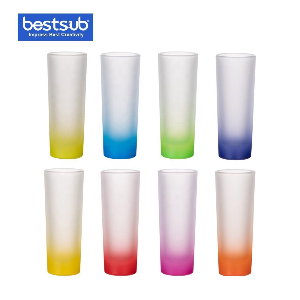 Bestsub Wholesale Sublimation Banks 3oz Mug Gradient Rainbow Color Drinking Espresso Personalized Shot Glass Set in bulk