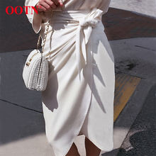OOTN 2019 Elegant White Long Suede Skirt Lace Up Casual Femme High Waist Skirt For Women Custom New Design Wrap Midi Skirt