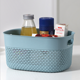 China Box Plastic Handle China Supplier 12L Rectangle Box Solid Color Blue Food Plastic Laundry Storage Basket with Handle