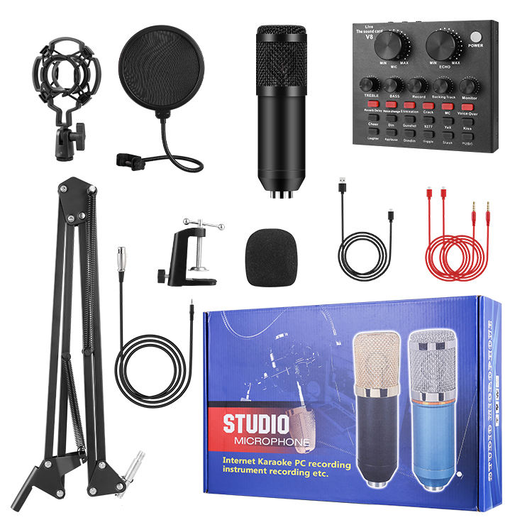 Newest Karaoke Professional Studio Recording V8 Sound Card Bm800 Set Condenser Microphone For Webcast Live Recording