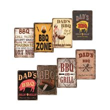 DAD'S BBQ Retro Metal Tin Signs Plaque Metal Wall Decor Barbecue Bar Pub Kitchen Party Zone Vintage Metal Signs Iron Painting